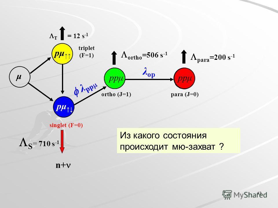 43 T = 12 s -1 pμ singlet (F=0) S = 710 s -1 n+ triplet (F=1) μ pμ ppμ para (J=0)ortho (J=1) λ op ortho =506 s -1 para =200 s -1 ppμ λ pp Из какого состояния происходит мю-захват ?