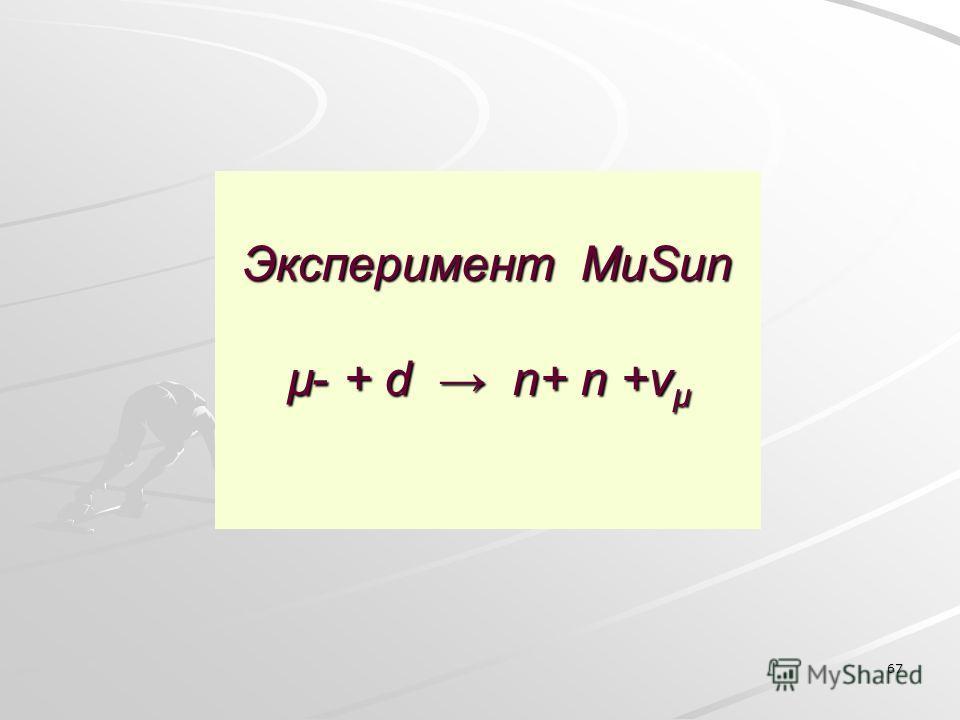 67 Эксперимент MuSun µ- + d n+ n +ν µ