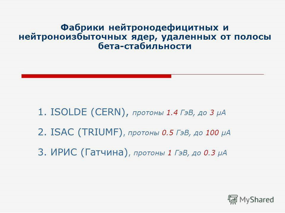 1. ISOLDE (CERN), протоны 1.4 ГэВ, до 3 µА 2. ISAC (TRIUMF), протоны 0.5 ГэВ, до 100 µА Фабрики нейтронодефицитных и нейтроноизбыточных ядер, удаленных от полосы бета-стабильности 3. ИРИС (Гатчина), протоны 1 ГэВ, до 0.3 µА