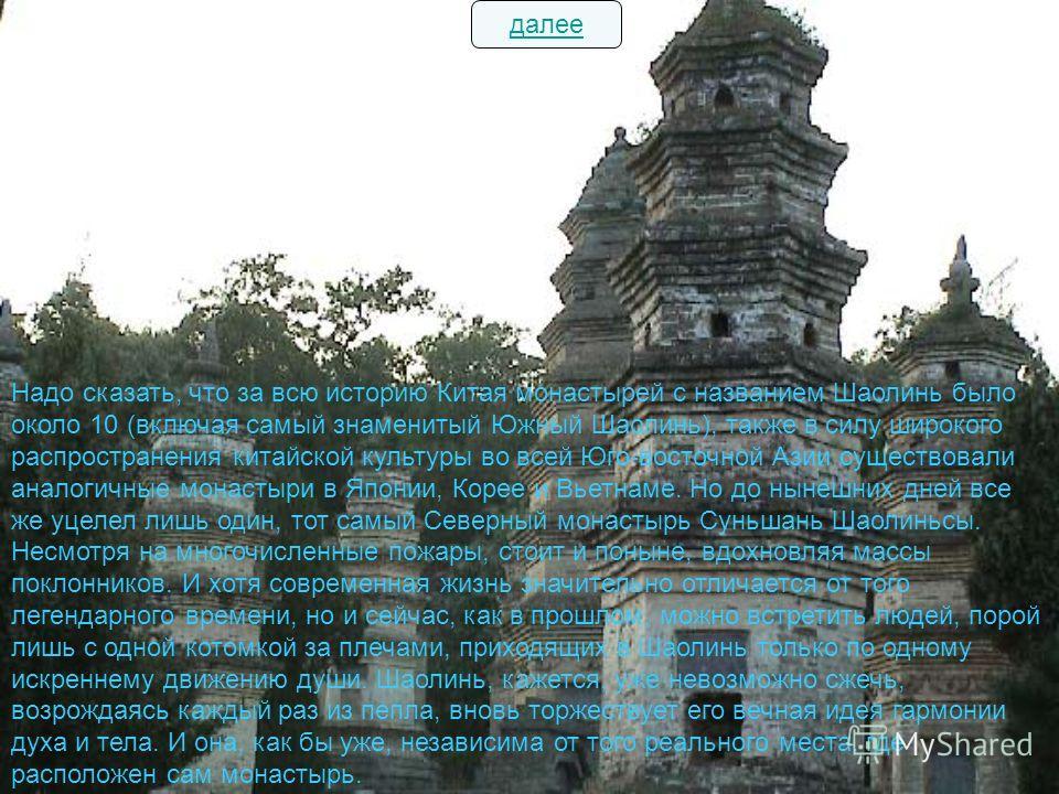 Надо сказать, что за всю историю Китая монастырей с названием Шаолинь было около 10 (включая самый знаменитый Южный Шаолинь), также в силу широкого распространения китайской культуры во всей Юго-восточной Азии существовали аналогичные монастыри в Япо