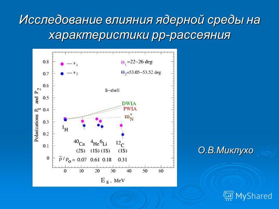Исследование влияния ядерной среды на характеристики рр-рассеяния О.В.Миклухо
