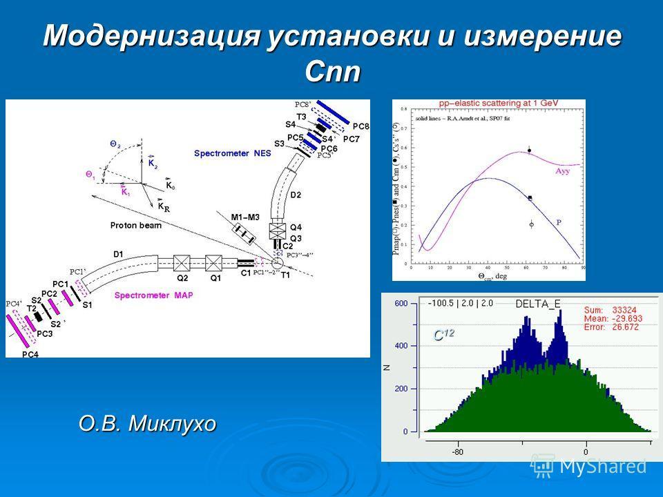 Модернизация установки и измерение Сnn C 12 О.В. Миклухо