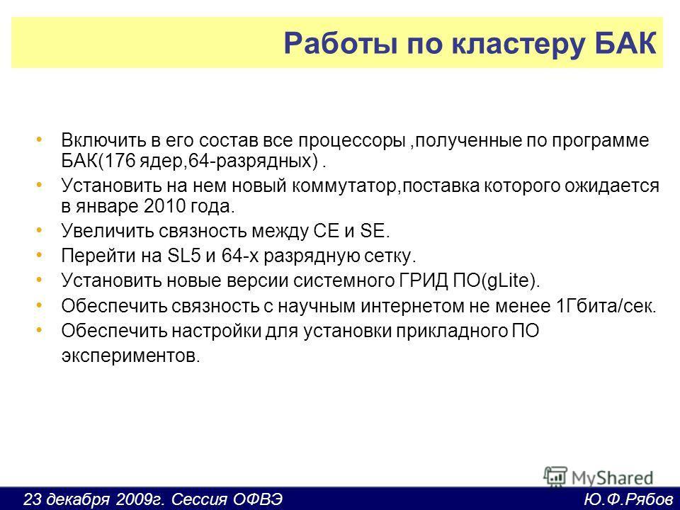 23 декабря 2009г. Сессия ОФВЭ Ю.Ф.Рябов Работы по кластеру БАК Включить в его состав все процессоры,полученные по программе БАК(176 ядер,64-разрядных). Установить на нем новый коммутатор,поставка которого ожидается в январе 2010 года. Увеличить связн