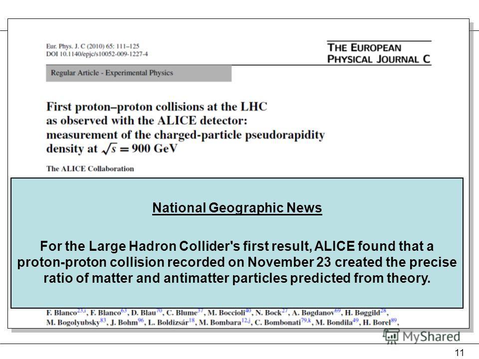 23 ноября, понедельник – первые 284 столкновения 28 ноября, cуббота – первая статья отправлена в EPJC 12 декабря – статья опубликована. http://www.springerlink.com/content/l7l7286758x3v155/ 11 National Geographic News For the Large Hadron Collider's