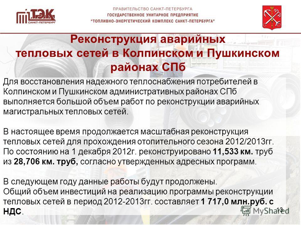 Для восстановления надежного теплоснабжения потребителей в Колпинском и Пушкинском административных районах СПб выполняется большой объем работ по реконструкции аварийных магистральных тепловых сетей. В настоящее время продолжается масштабная реконст