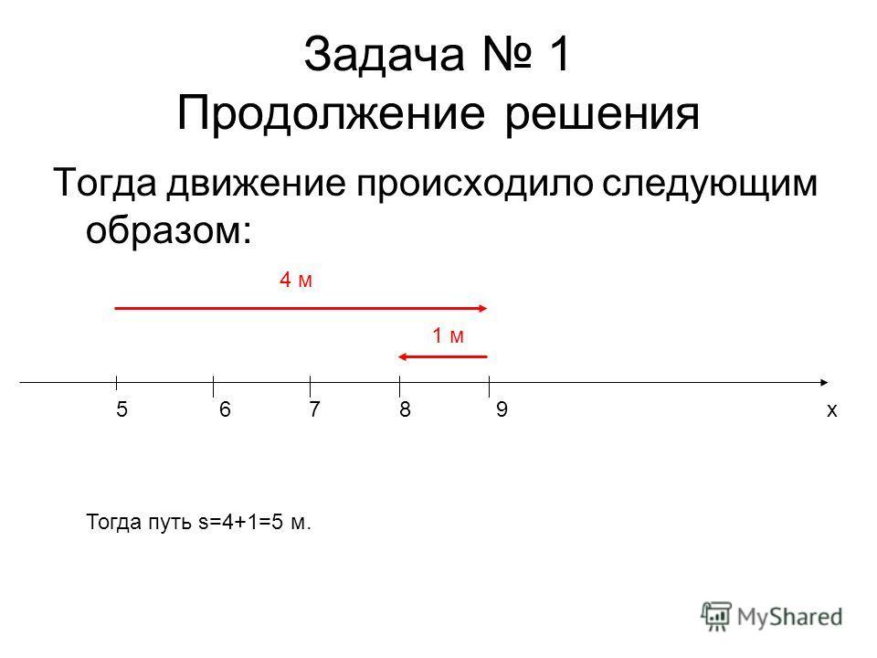 Задача 1 Продолжение решения Тогда движение происходило следующим образом: x56789 4 м 1 м Тогда путь s=4+1=5 м.