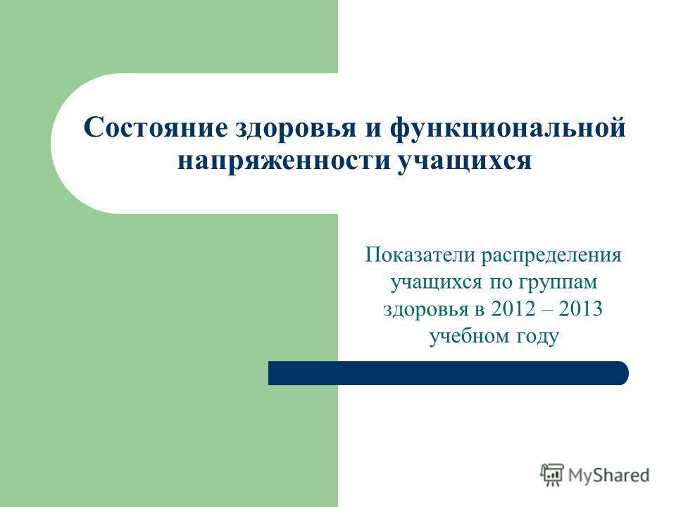 Состояние здоровья и функциональной напряженности учащихся Показатели распределения учащихся по группам здоровья в 2012 – 2013 учебном году