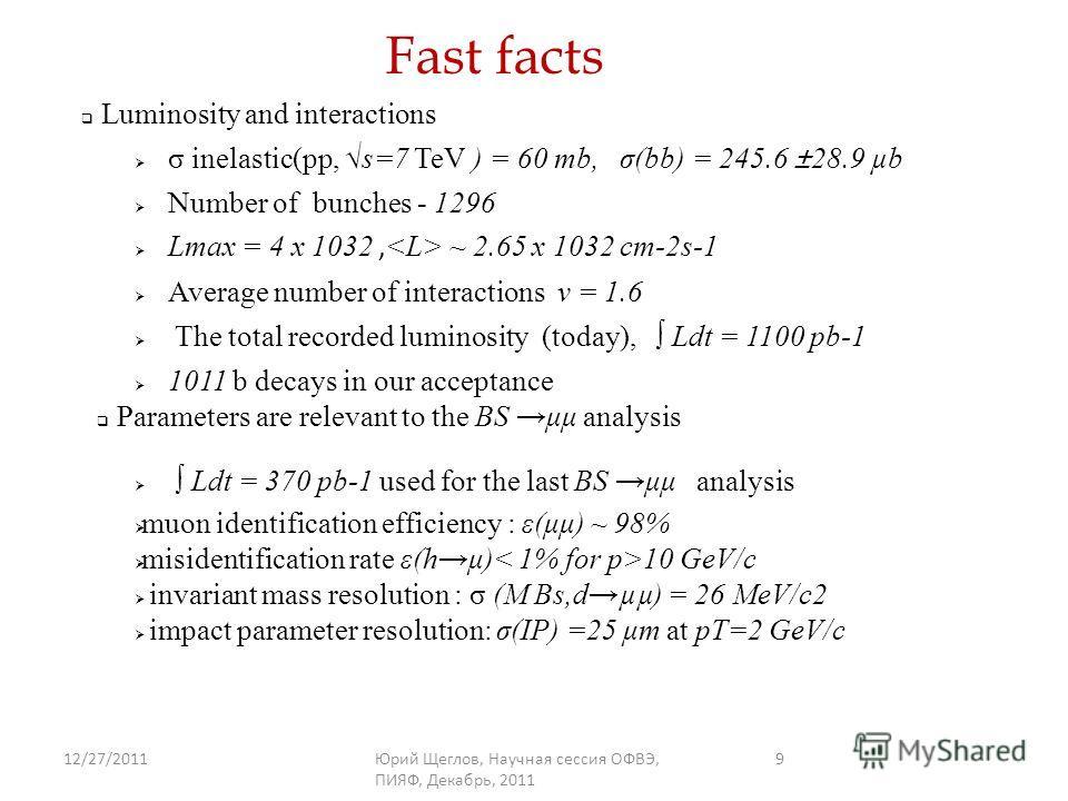 12/27/2011Юрий Щеглов, Научная сессия ОФВЭ, ПИЯФ, Декабрь, 2011 9 Fast facts σ inelastic(pp, s=7 TeV ) = 60 mb, σ(bb) = 245.6 ±28.9 µb Number of bunches - 1296 Lmax = 4 x 1032, ~ 2.65 x 1032 cm-2s-1 Average number of interactions v = 1.6 The total re