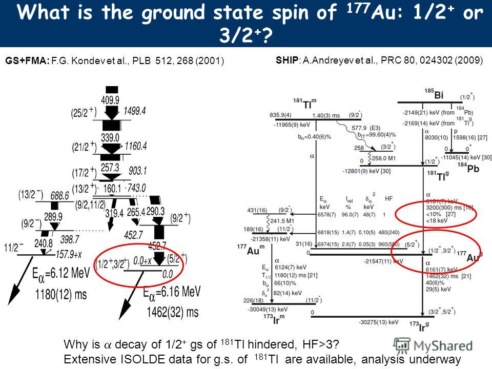What is the ground state spin of 177 Au: 1/2 + or 3/2 + ? GS+FMA: F.G. Kondev et al., PLB 512, 268 (2001) SHIP: A.Andreyev et al., PRC 80, 024302 (2009) Why is decay of 1/2 + gs of 181 Tl hindered, HF>3? Extensive ISOLDE data for g.s. of 181 Tl are a