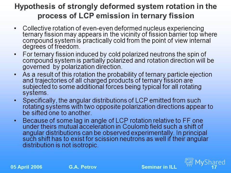 05 April 2006G.A. Petrov Seminar in ILL 17 Hypothesis of strongly deformed system rotation in the process of LCP emission in ternary fission Collective rotation of even-even deformed nucleus experiencing ternary fission may appears in the vicinity of