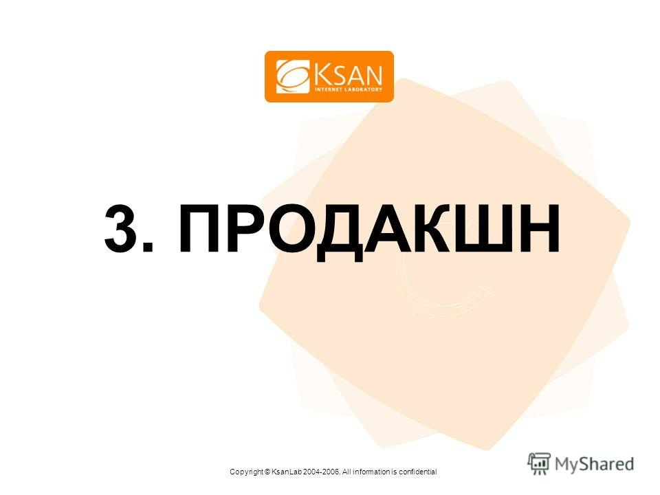 www.ksan.ru 3. ПРОДАКШН Copyright © KsanLab 2004-2006. All information is confidential