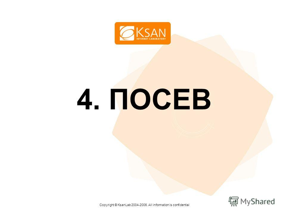 www.ksan.ru 4. ПОСЕВ Copyright © KsanLab 2004-2006. All information is confidential