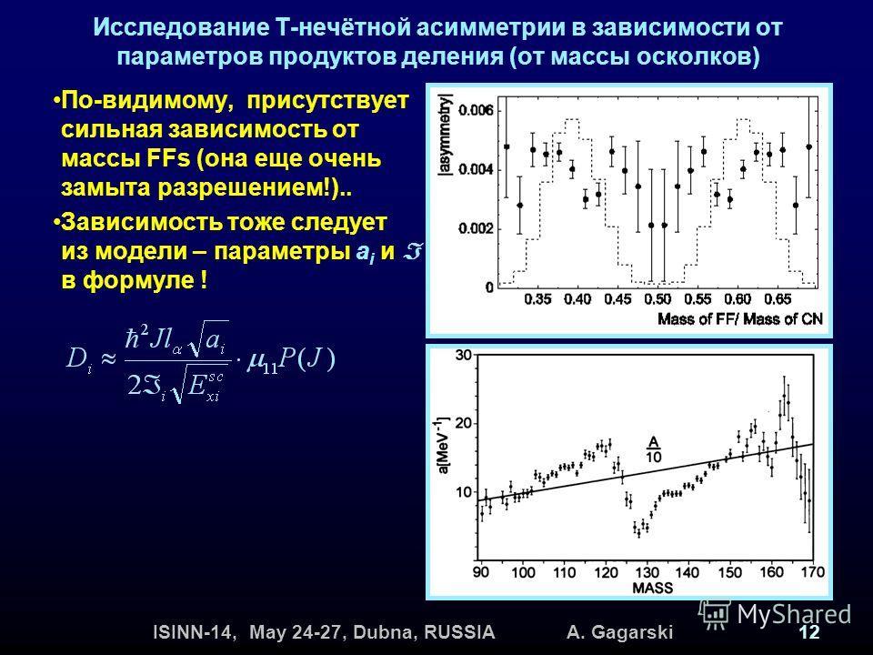 ISINN-14, May 24-27, Dubna, RUSSIA A. Gagarski12 Исследование Т-нечётной асимметрии в зависимости от параметров продуктов деления (от массы осколков) По-видимому, присутствует сильная зависимость от массы FFs (она еще очень замыта разрешением!).. Зав