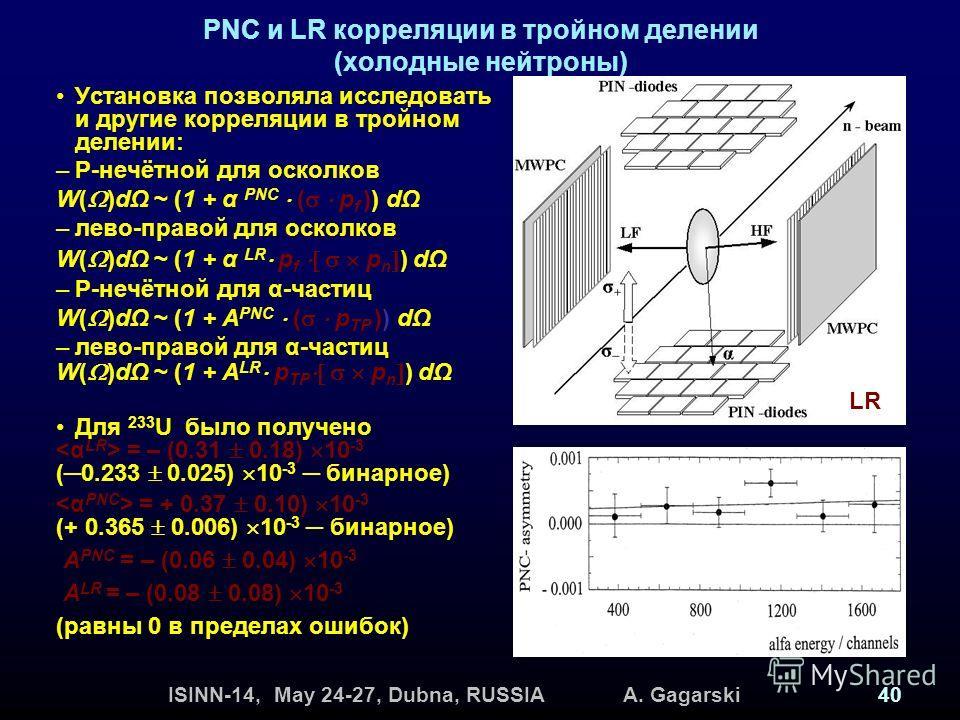 ISINN-14, May 24-27, Dubna, RUSSIA A. Gagarski40 PNC и LR корреляции в тройном делении (холодные нейтроны) Установка позволяла исследовать и другие корреляции в тройном делении: –Р-нечётной для осколков W( )dΩ ~ (1 + α PNC ( p f )) dΩ –лево-правой дл