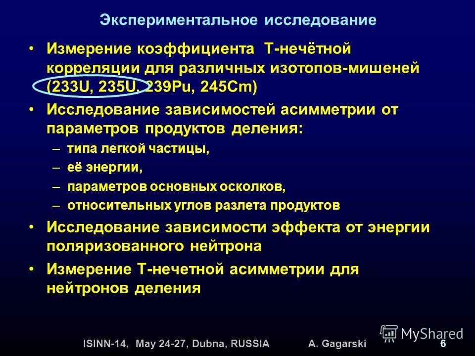 ISINN-14, May 24-27, Dubna, RUSSIA A. Gagarski6 Экспериментальное исследование Измерение коэффициента Т-нечётной корреляции для различных изотопов-мишеней (233U, 235U, 239Pu, 245Cm) Исследование зависимостей асимметрии от параметров продуктов деления