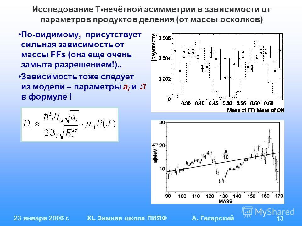 23 января 2006 г.XL Зимняя школа ПИЯФ А. Гагарский 13 Исследование Т-нечётной асимметрии в зависимости от параметров продуктов деления (от массы осколков) По-видимому, присутствует сильная зависимость от массы FFs (она еще очень замыта разрешением!).