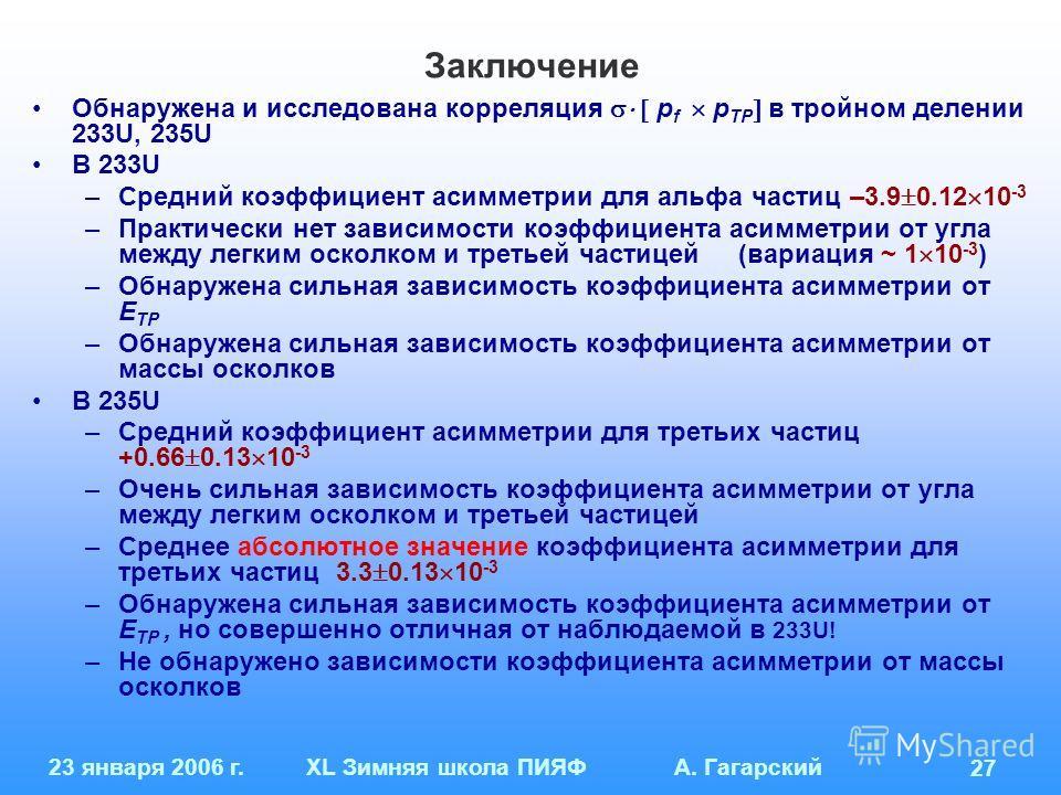 23 января 2006 г.XL Зимняя школа ПИЯФ А. Гагарский 27 Заключение Обнаружена и исследована корреляция p f p TP в тройном делении 233U, 235U В 233U –Средний коэффициент асимметрии для альфа частиц –3.9 0.12 10 -3 –Практически нет зависимости коэффициен