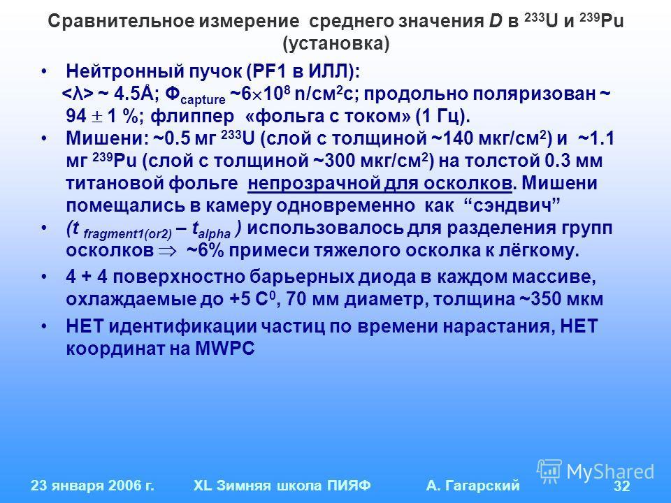23 января 2006 г.XL Зимняя школа ПИЯФ А. Гагарский 32 Сравнительное измерение среднего значения D в 233 U и 239 Pu (установка) Нейтронный пучок (PF1 в ИЛЛ): ~ 4.5Å; Φ capture ~6 10 8 n/см 2 с; продольно поляризован ~ 94 1 %; флиппер «фольга с током»