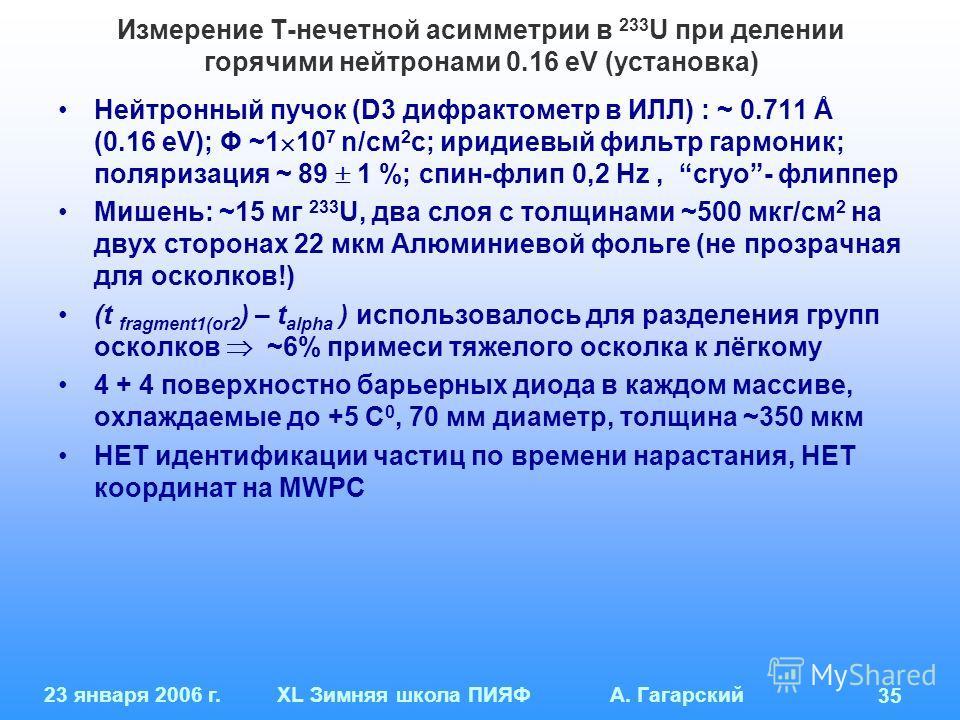 23 января 2006 г.XL Зимняя школа ПИЯФ А. Гагарский 35 Измерение Т-нечетной асимметрии в 233 U при делении горячими нейтронами 0.16 eV (установка) Нейтронный пучок (D3 дифрактометр в ИЛЛ) : ~ 0.711 Å (0.16 eV); Φ ~1 10 7 n/см 2 с; иридиевый фильтр гар
