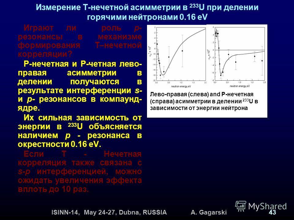ISINN-14, May 24-27, Dubna, RUSSIA A. Gagarski43 Измерение Т-нечетной асимметрии в 233 U при делении горячими нейтронами 0.16 eV Играют ли роль p- резонансы в механизме формирования T–нечетной корреляции? P-нечетная и P-четная лево- правая асимметрии