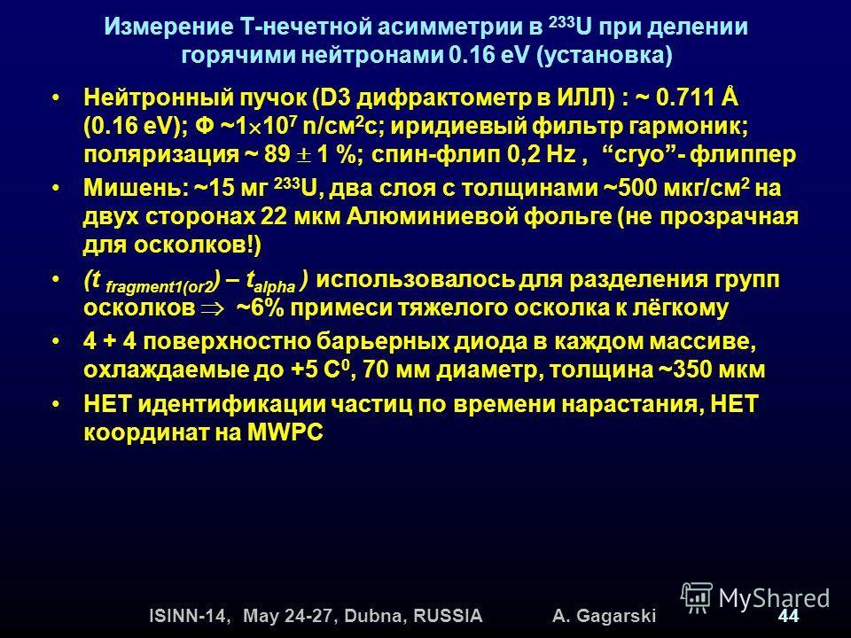ISINN-14, May 24-27, Dubna, RUSSIA A. Gagarski44 Измерение Т-нечетной асимметрии в 233 U при делении горячими нейтронами 0.16 eV (установка) Нейтронный пучок (D3 дифрактометр в ИЛЛ) : ~ 0.711 Å (0.16 eV); Φ ~1 10 7 n/см 2 с; иридиевый фильтр гармоник