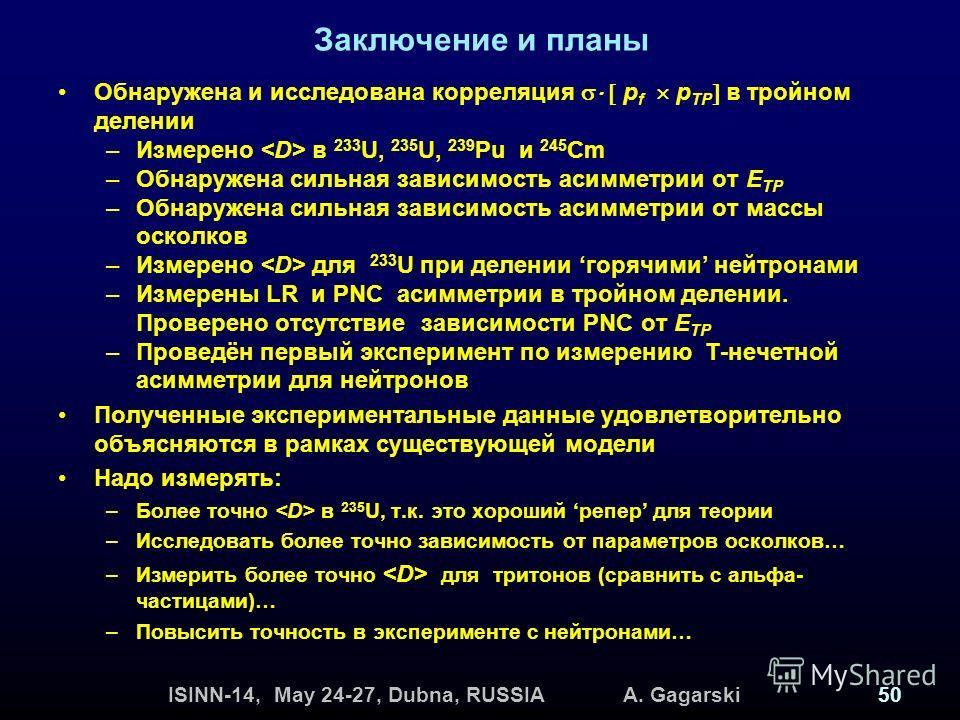 ISINN-14, May 24-27, Dubna, RUSSIA A. Gagarski50 Заключение и планы Обнаружена и исследована корреляция p f p TP в тройном делении –Измерено в 233 U, 235 U, 239 Pu и 245 Cm –Обнаружена сильная зависимость асимметрии от Е ТР –Обнаружена сильная зависи