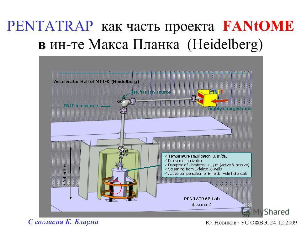 PENTATRAP как часть проекта FANtOME в ин-те Макса Планка (Heidelberg) Ю. Новиков - УС ОФВЭ, 24.12.2009 С согласия К. Блаума