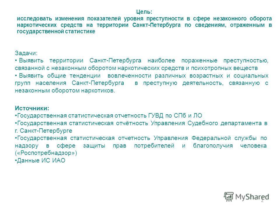 2 Цель: исследовать изменения показателей уровня преступности в сфере незаконного оборота наркотических средств на территории Санкт-Петербурга по сведениям, отраженным в государственной статистике Задачи: Выявить территории Санкт-Петербурга наиболее