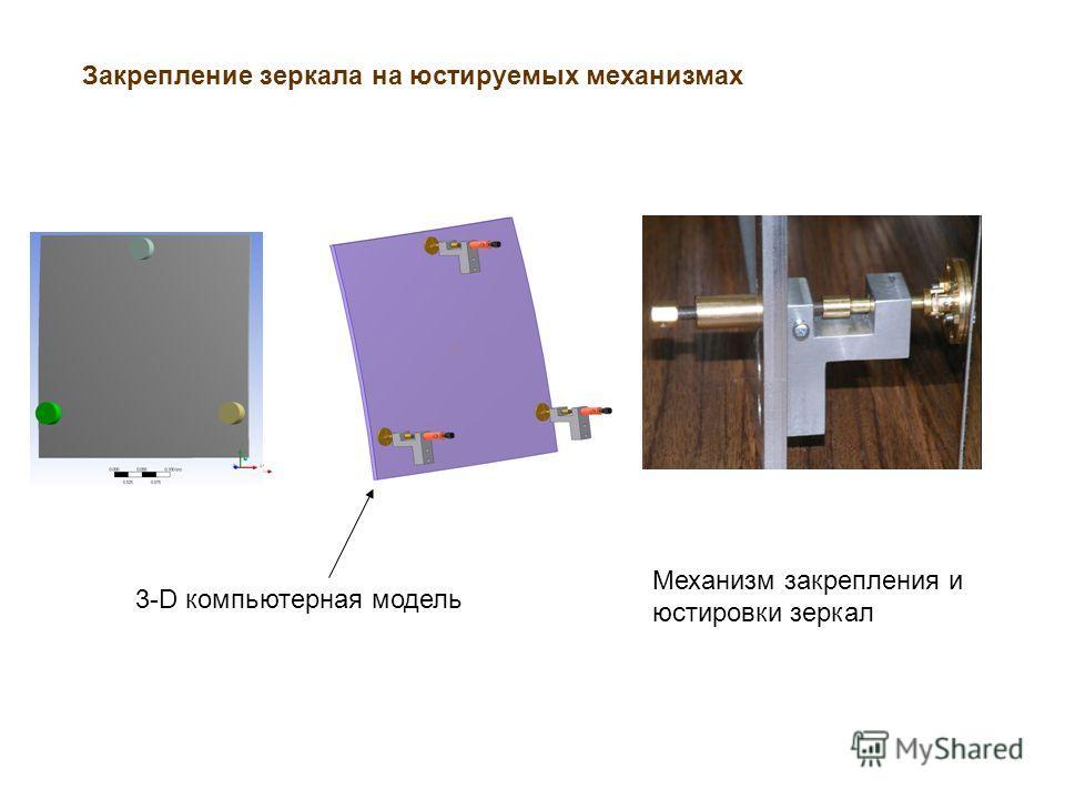 3-D компьютерная модель Механизм закрепления и юстировки зеркал Закрепление зеркала на юстируемых механизмах