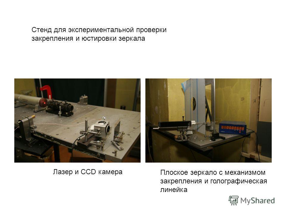 Лазер и CCD камера Плоское зеркало с механизмом закрепления и голографическая линейка Стенд для экспериментальной проверки закрепления и юстировки зеркала