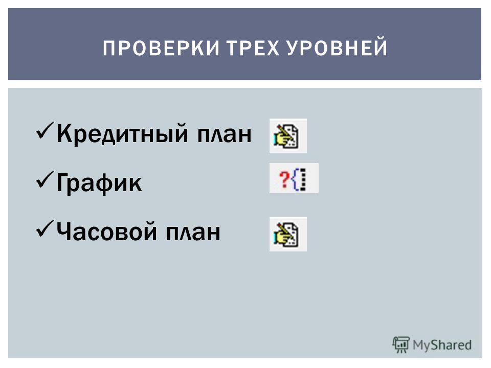 ПРОВЕРКИ ТРЕХ УРОВНЕЙ Кредитный план График Часовой план