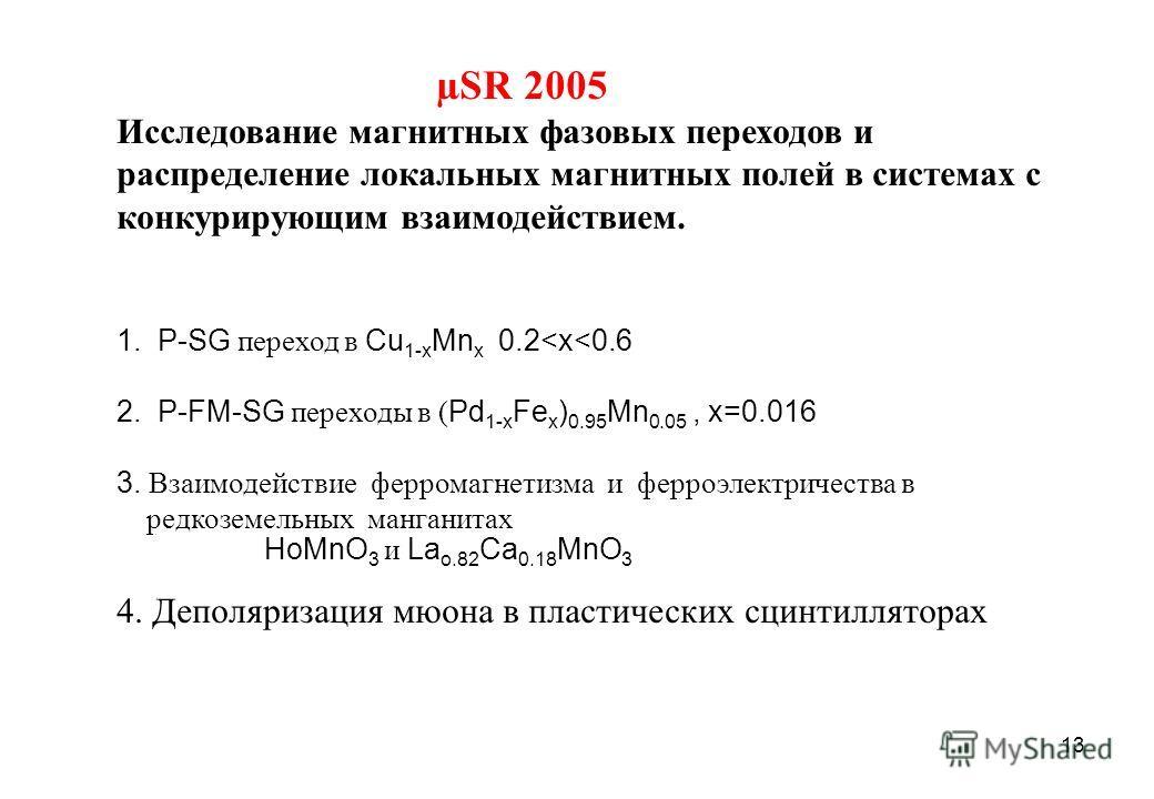 13 µSR 2005 Исследование магнитных фазовых переходов и распределение локальных магнитных полей в системах с конкурирующим взаимодействием. 1. P-SG переход в Cu 1-x Mn x 0.2