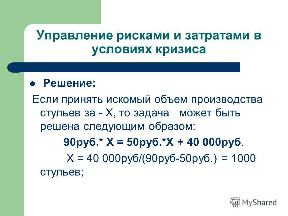 Управление рисками и затратами в условиях кризиса Решение: Если принять искомый объем производства стульев за - Х, то задача может быть решена следующим образом: 90руб.* Х = 50руб.*Х + 40 000руб. Х = 40 000руб/(90руб-50руб.) = 1000 стульев;