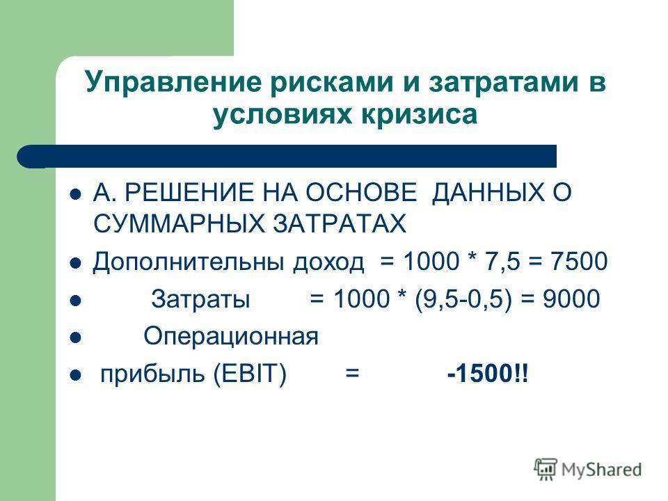 Управление рисками и затратами в условиях кризиса А. РЕШЕНИЕ НА ОСНОВЕ ДАННЫХ О СУММАРНЫХ ЗАТРАТАХ Дополнительны доход = 1000 * 7,5 = 7500 Затраты = 1000 * (9,5-0,5) = 9000 Операционная прибыль (EBIT) = -1500!!