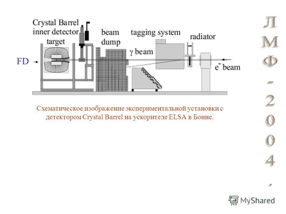 Схематическое изображение экспериментальной установки с детектором Crystal Barrel на ускорителе ELSA в Бонне. FD