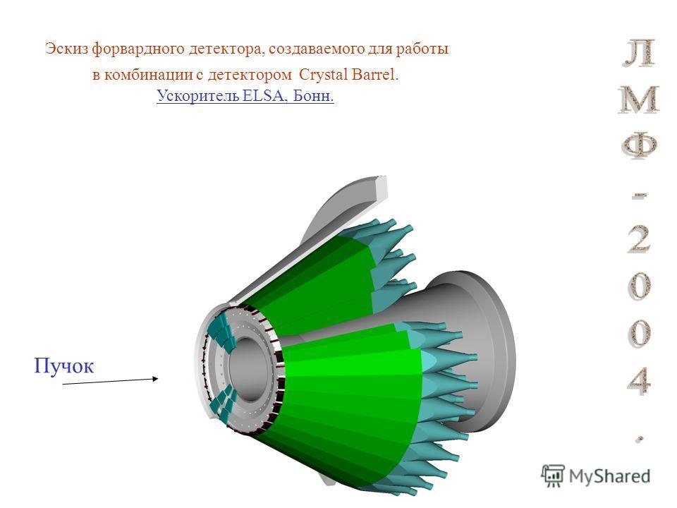 Эскиз форвардного детектора, создаваемого для работы в комбинации с детектором Crystal Barrel. Ускоритель ELSA, Бонн. Пучок