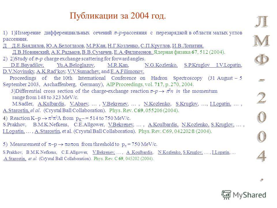 1) 1)Измерение дифференциальных сечений p-рассеяния с перезарядкой в области малых углов рассеяния. Д Д.Е.Баядилов, Ю.А.Белоглазов, М.Р.Кан, Н.Г.Козленко, С.П.Круглов, И.В.Лопатин, Д.В.Новинский, А.К.Радьков, В.В.Сумачев, Е.А.Филимонов. Ядерная физик