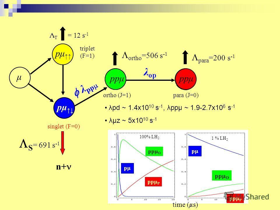 T = 12 s -1 pμ singlet (F=0) S = 691 s -1 n+ triplet (F=1) μ pμ ppμ para (J=0)ortho (J=1) λ op ortho =506 s -1 para =200 s -1 ppμ λpd ~ 1.4x10 10 s -1, λpp μ ~ 1.9-2.7x10 6 s -1 λμz ~ 5x10 10 s -1 pp P pp O p 100% LH 2 p pp P pp O 1 % LH 2 time ( s)