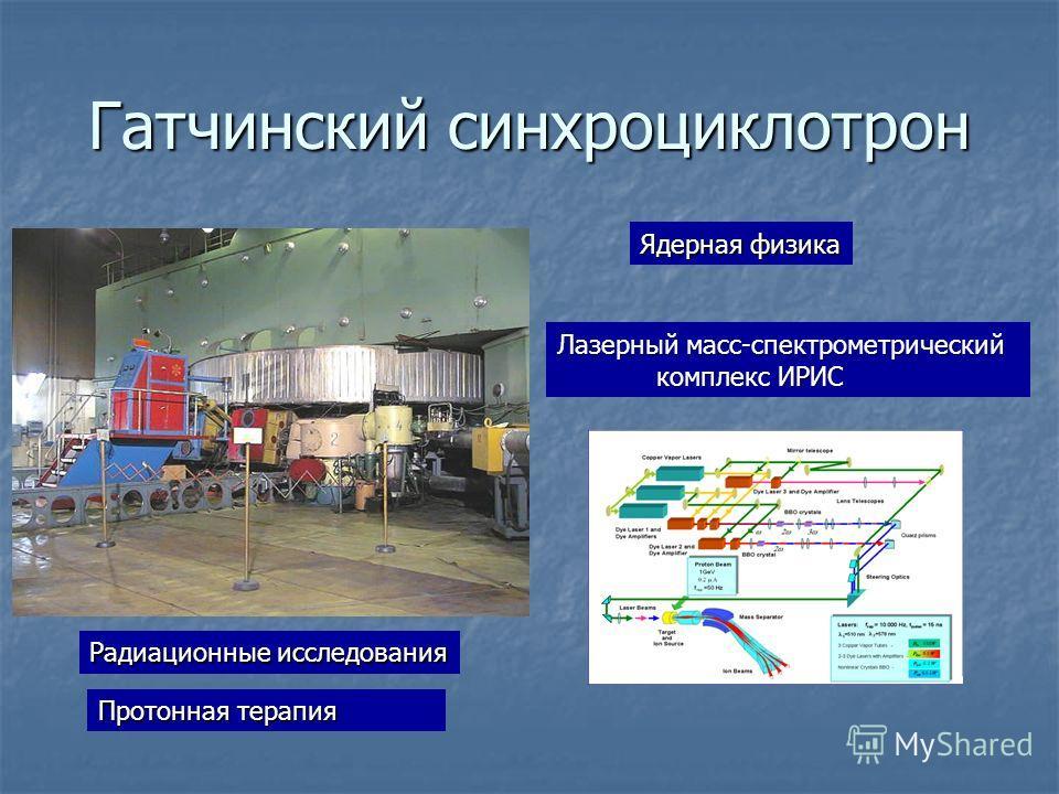 Гатчинский синхроциклотрон Ядерная физика Радиационные исследования Протонная терапия Лазерный масс-спектрометрический комплекс ИРИС комплекс ИРИС