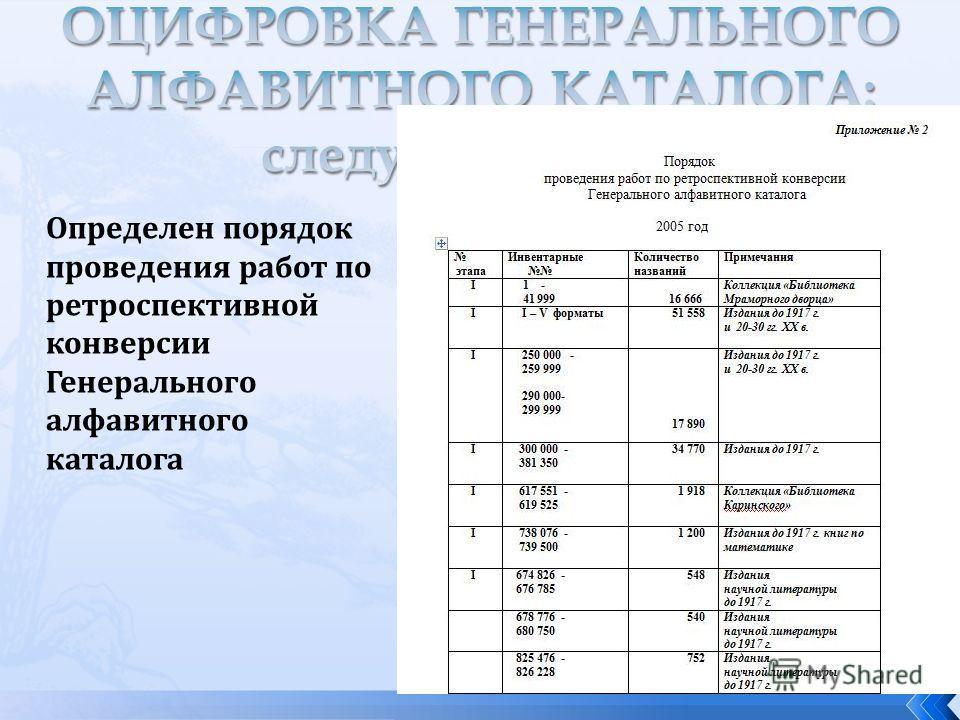 Определен порядок проведения работ по ретроспективной конверсии Генерального алфавитного каталога