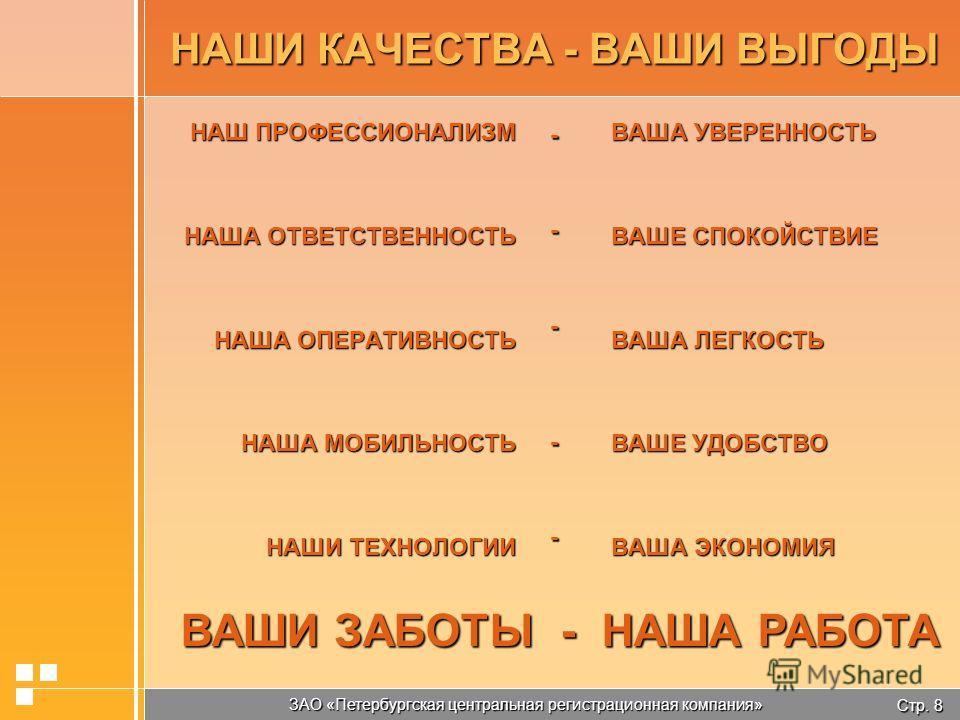 Стр. 8 ЗАО «Петербургская центральная регистрационная компания» НАШИ КАЧЕСТВА - ВАШИ ВЫГОДЫ НАШ ПРОФЕССИОНАЛИЗМ НАША ОТВЕТСТВЕННОСТЬ НАША ОПЕРАТИВНОСТЬ НАША МОБИЛЬНОСТЬ НАШИ ТЕХНОЛОГИИ ВАША УВЕРЕННОСТЬ ВАШЕ СПОКОЙСТВИЕ ВАША ЛЕГКОСТЬ ВАШЕ УДОБСТВО ВАШ