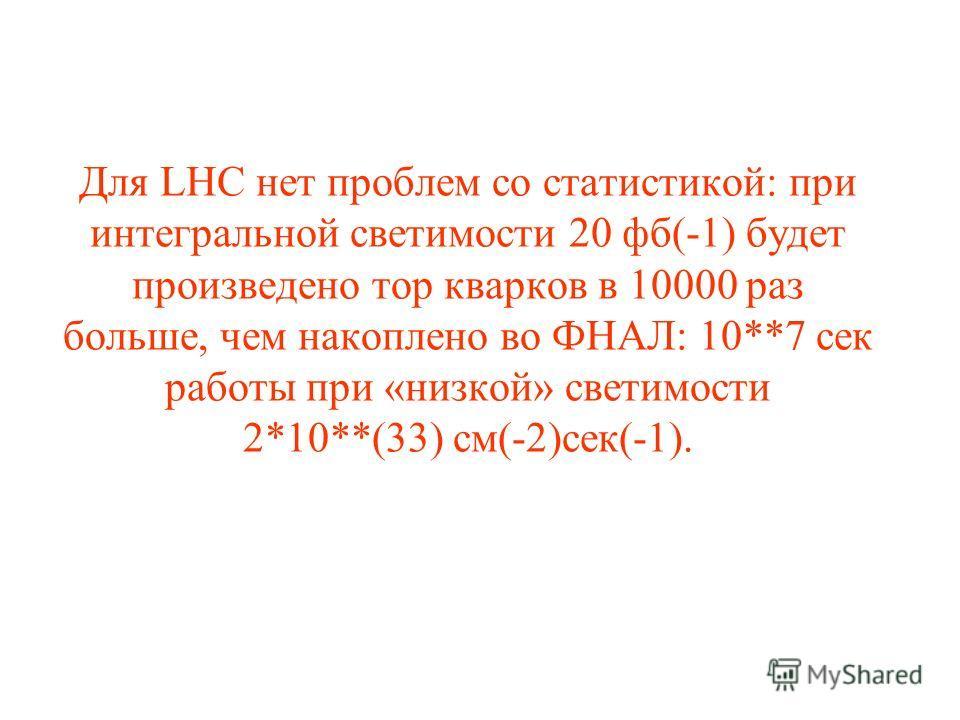 Для LHC нет проблем со статистикой: при интегральной светимости 20 фб(-1) будет произведено тор кварков в 10000 раз больше, чем накоплено во ФНАЛ: 10**7 сек работы при «низкой» светимости 2*10**(33) см(-2)сек(-1).