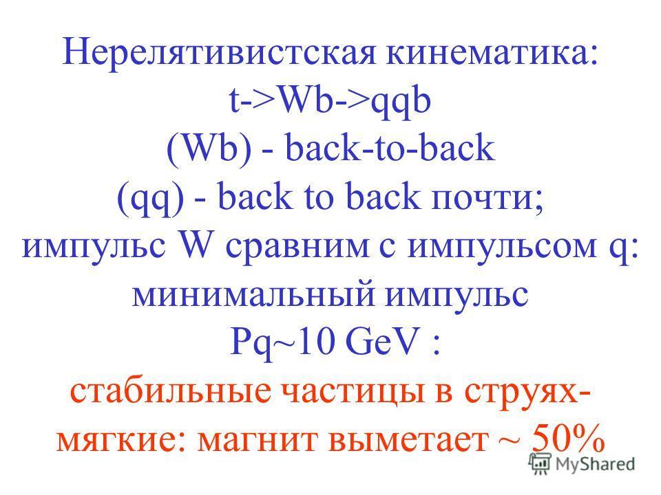 Нерелятивистская кинематика: t->Wb->qqb (Wb) - back-to-back (qq) - back to back почти; импульс W сравним с импульсом q: минимальный импульс Pq~10 GeV : стабильные частицы в струях- мягкие: магнит выметает ~ 50%