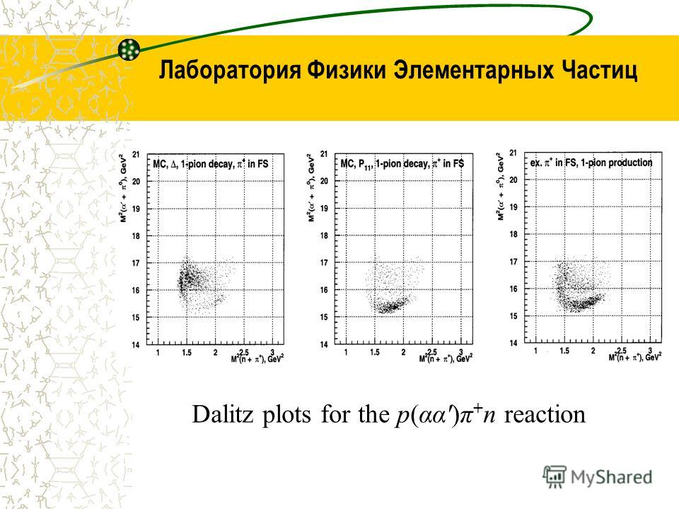 Лаборатория Физики Элементарных Частиц Dalitz plots for the p(αα')π + n reaction