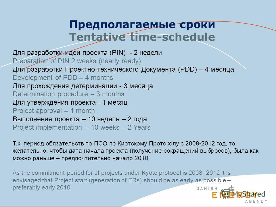 Предполагаемые сроки Tentative time-schedule Для разработки идеи проекта (PIN) - 2 недели Preparation of PIN 2 weeks (nearly ready) Для разработки Проектно-технического Документа (PDD) – 4 месяца Development of PDD – 4 months Для прохождения детермин