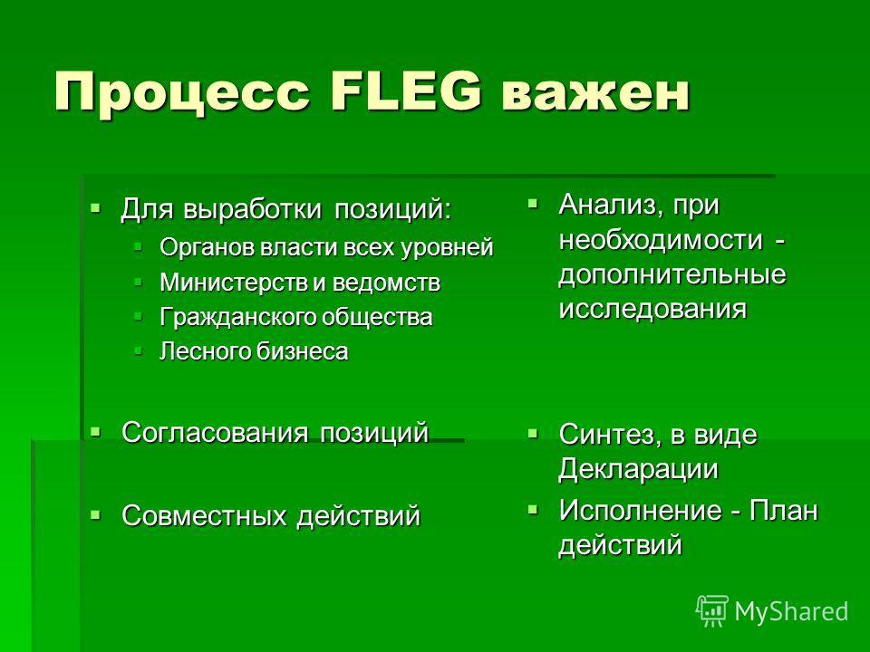 Процесс FLEG важен Для выработки позиций: Для выработки позиций: Органов власти всех уровней Органов власти всех уровней Министерств и ведомств Министерств и ведомств Гражданского общества Гражданского общества Лесного бизнеса Лесного бизнеса Согласо