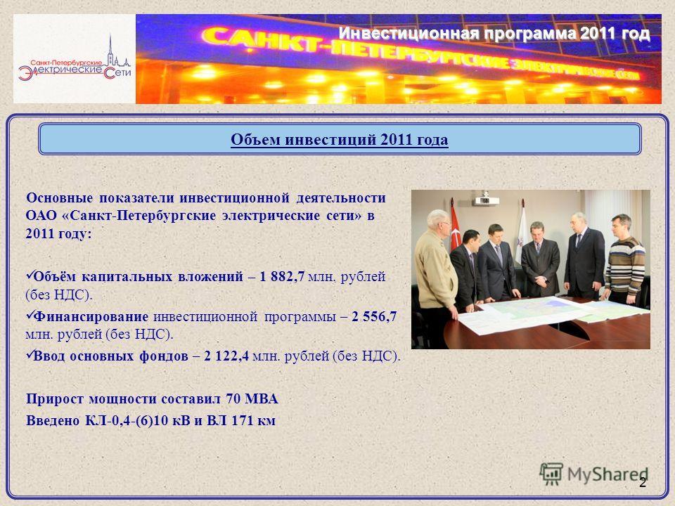 Основные показатели инвестиционной деятельности ОАО «Санкт-Петербургские электрические сети» в 2011 году: Объём капитальных вложений – 1 882,7 млн. рублей (без НДС). Финансирование инвестиционной программы – 2 556,7 млн. рублей (без НДС). Ввод основн