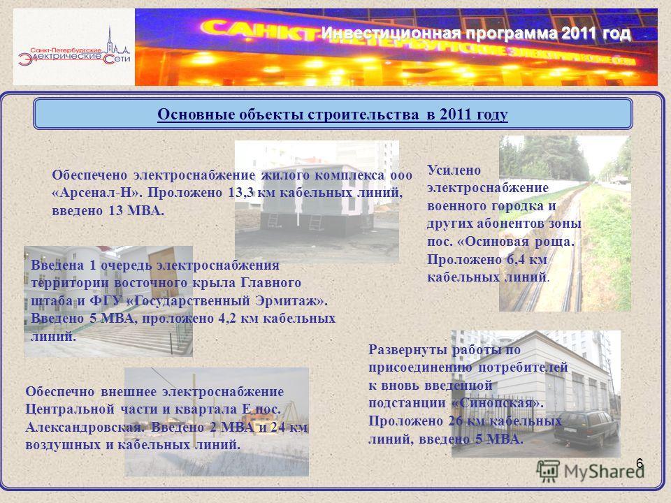 Основные объекты строительства в 2011 году 6 Инвестиционная программа 2011 год Усилено электроснабжение военного городка и других абонентов зоны пос. «Осиновая роща. Проложено 6,4 км кабельных линий. Обеспечено электроснабжение жилого комплекса ооо «