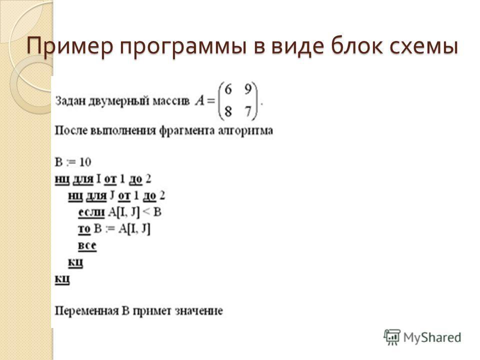 Пример программы в виде блок схемы