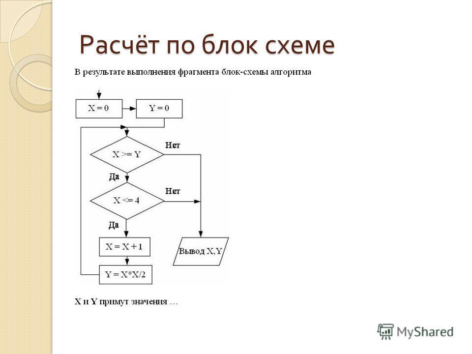 Расчёт по блок схеме